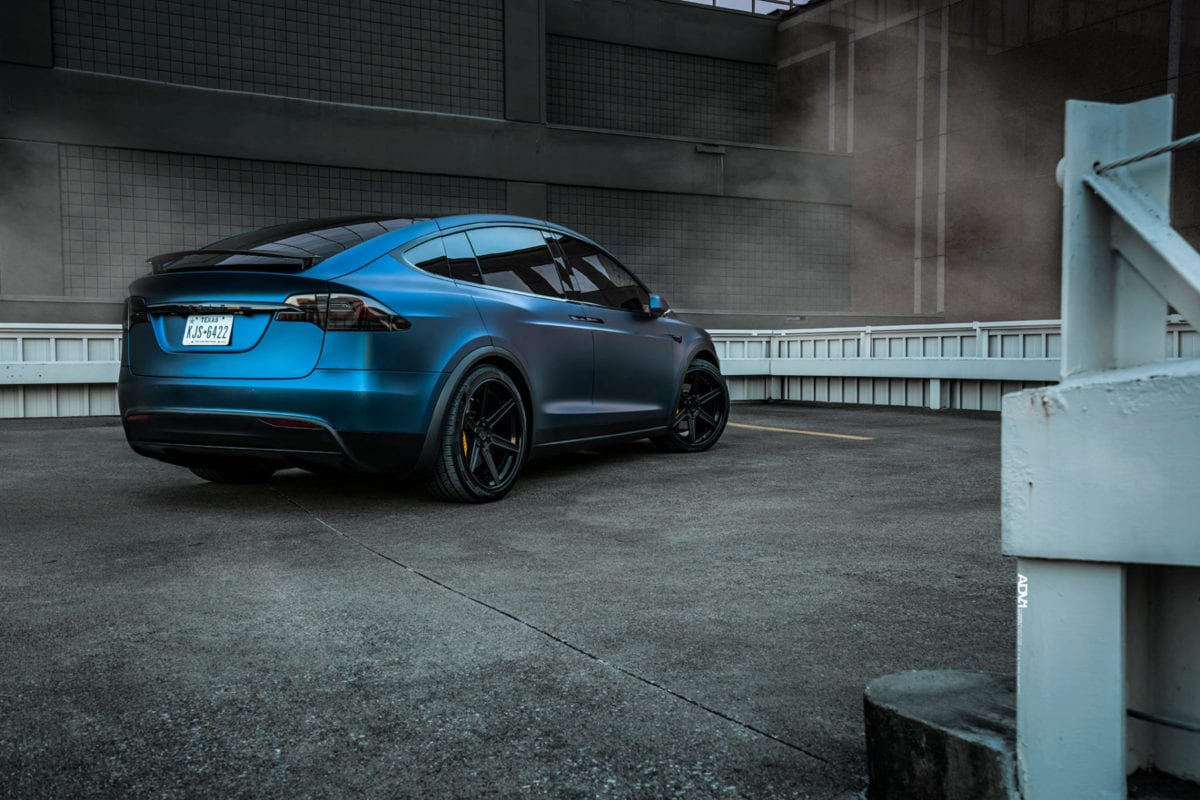 Dark Blue Matte Metallic Tesla Model X - ADV.1 Concave Forged Wheels