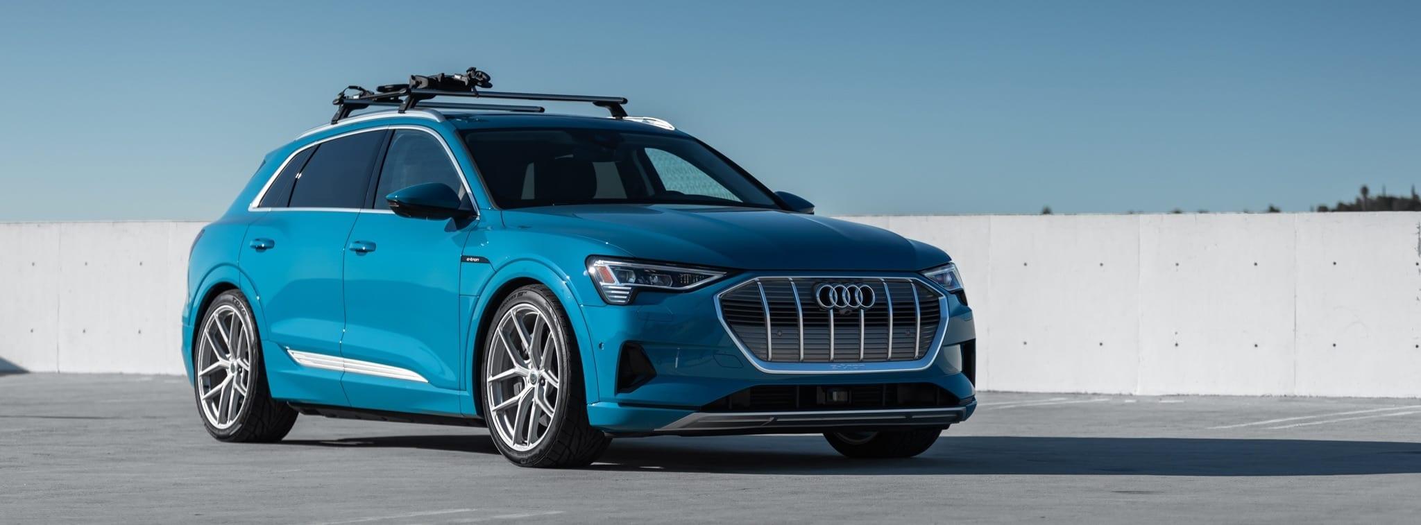 Antigua Blue Audi e-tron with HRE P101SC Wheels in Frozen Stone Clear