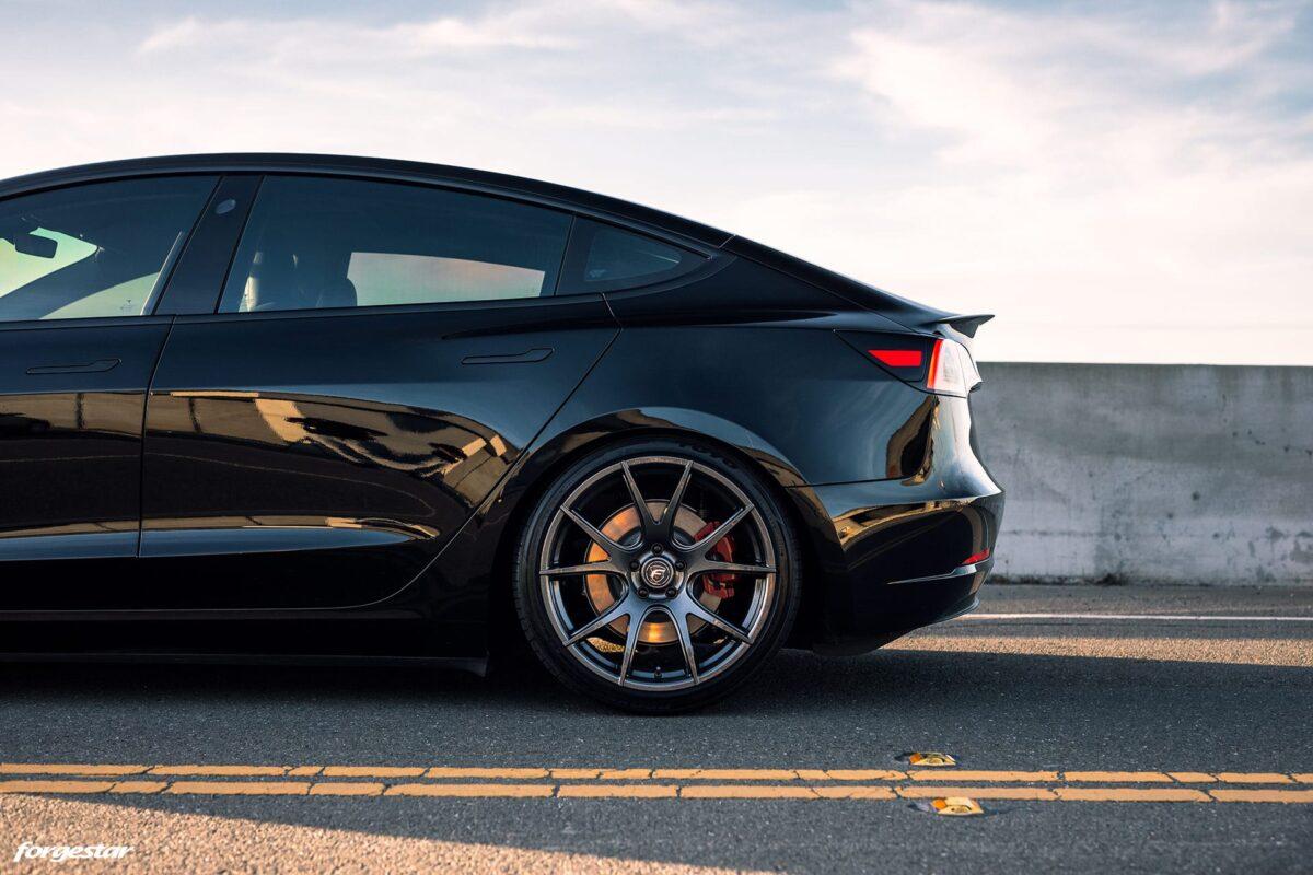 Black Tesla Model 3 - Forgestar CF5V Wheels in Dark Gunmetal