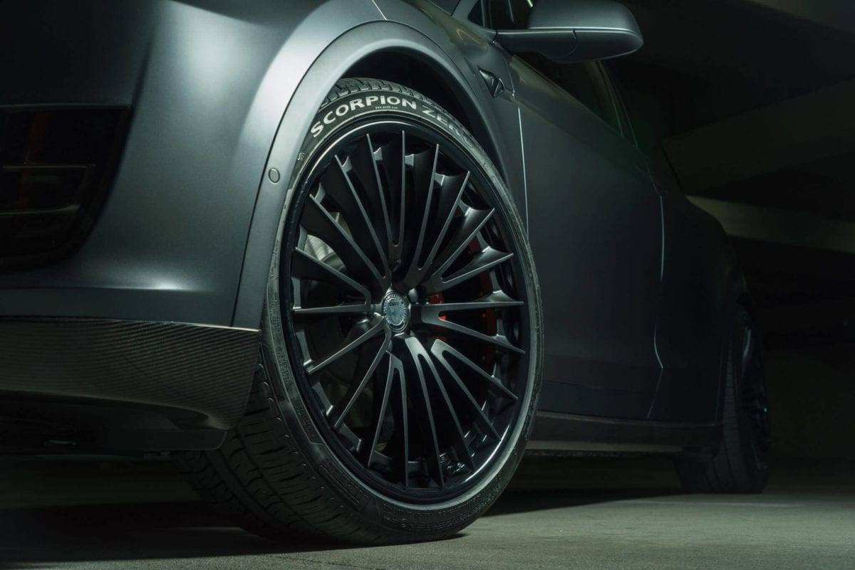 Midnight Silver Tesla Model X With HRE S209 Wheels In Satin Black