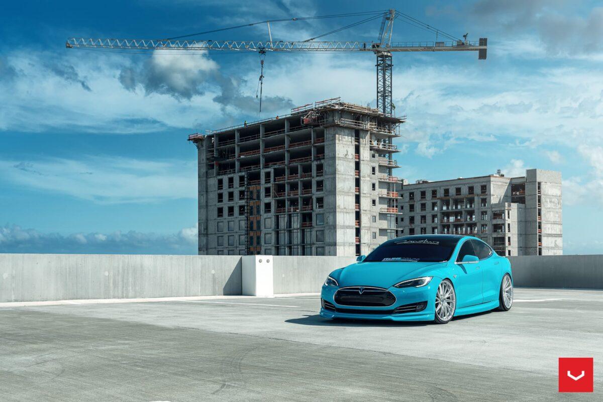 Tiffany Blue Tesla Model S On Vossen Hybrid Forged HF-4T Wheels